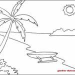 Contoh Gambar Sketsa Pantai