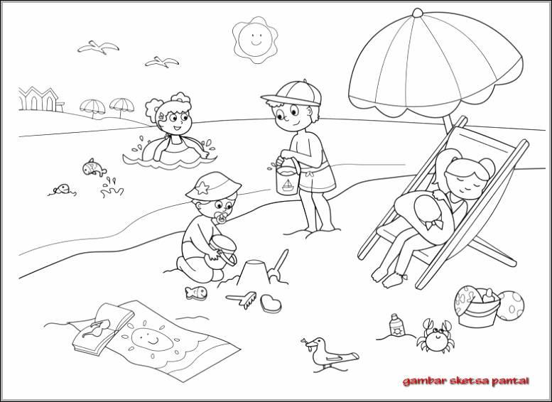 Gambar Sketsa Orang Di Pantai