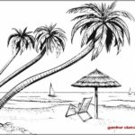 Gambar Sketsa Pantai Bali