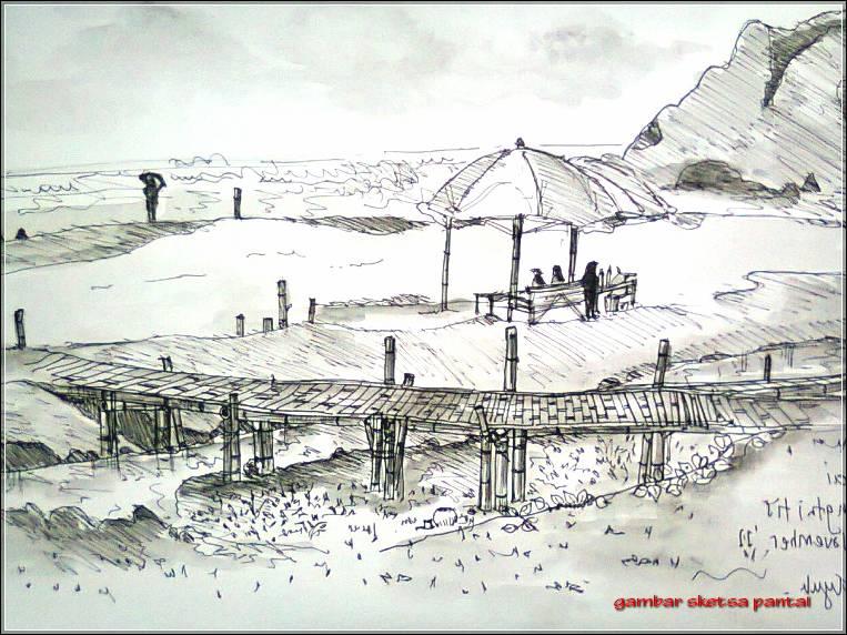 Gambar Sketsa Pantai Parangtritis