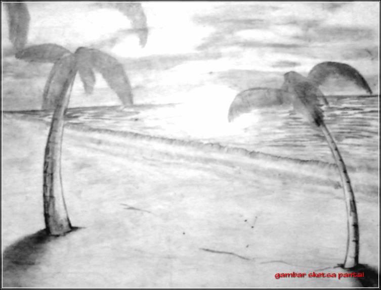 Gambar Sketsa Pantai Sunset
