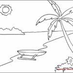Gambar Sketsa Pantai Yang Mudah