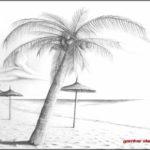 Gambar Sketsa Payung Pantai