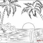 Gambar Sketsa Pemandangan Di Pantai