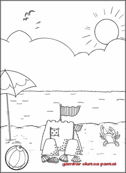 Gambar Sketsa Pemandangan Tepi Pantai