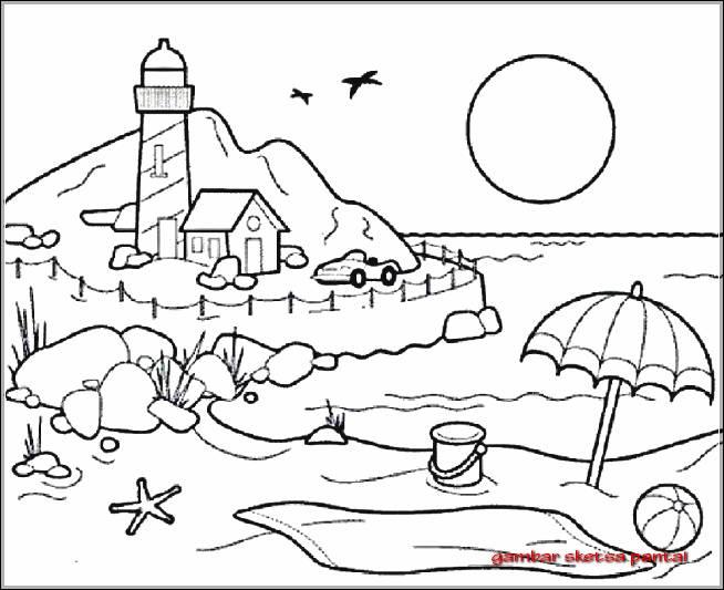Gambar Sketsa Pesisir Pantai