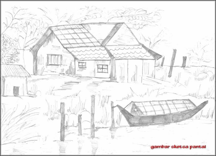 Gambar Sketsa Rumah Pantai