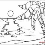 Sketsa Gambar Suasana Di Pantai
