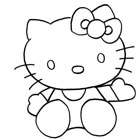 Sketsa Hello Kitty Bertopi