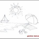 Sketsa Pantai Yang Mudah Digambar
