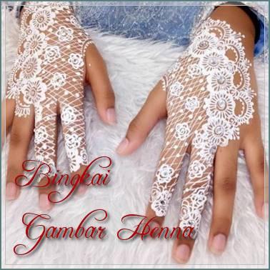 foto henna pengantin warna putih