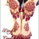 gambar henna simple warna merah