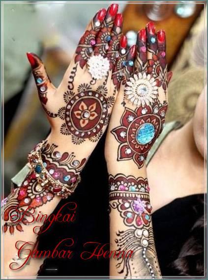 gambar henna tiga warna