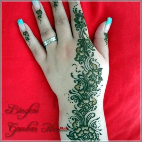gambar henna warna hijau
