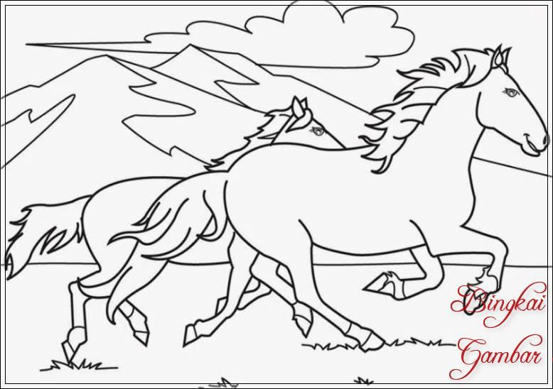 Contoh Gambar Sketsa Kuda