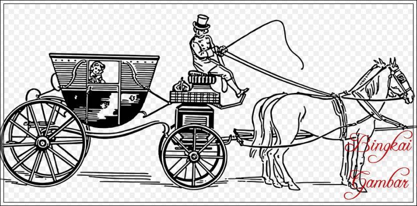 Gambar Sketsa Kuda Membawa Beban