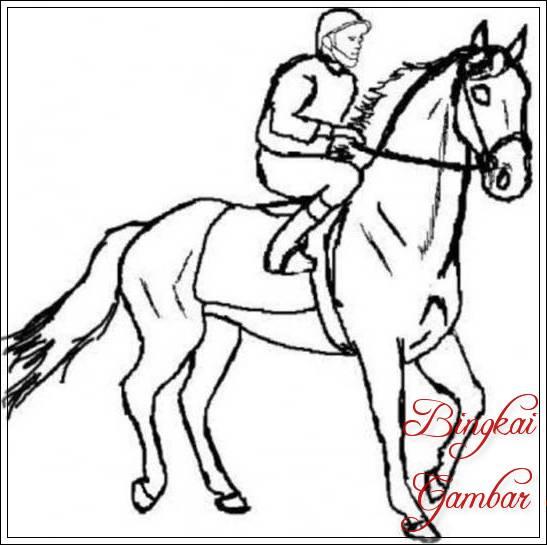 Gambar Sketsa Orang Naik Kuda