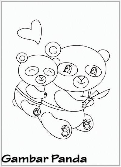 Gambar Sketsa Panda Lucu