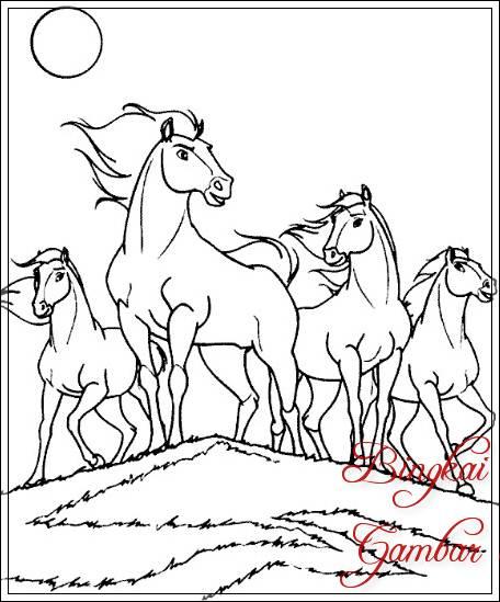 Sketsa Gambar Pemandangan Kuda