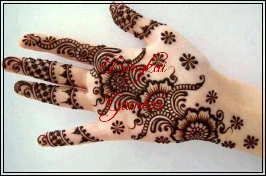 gambar bunga dengan henna
