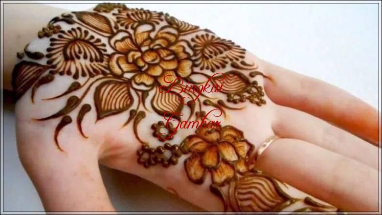 gambar henna berbentuk bunga