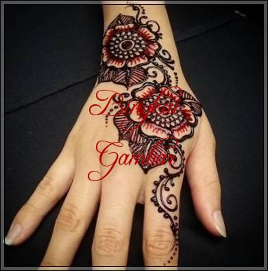 gambar henna bunga mudah