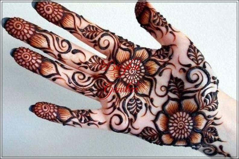 gambar henna bunga sederhana