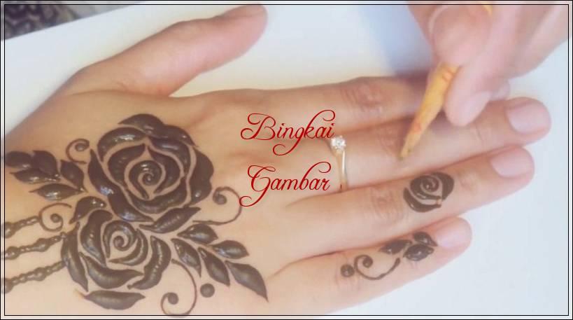 gambar henna bunga simple untuk pemula