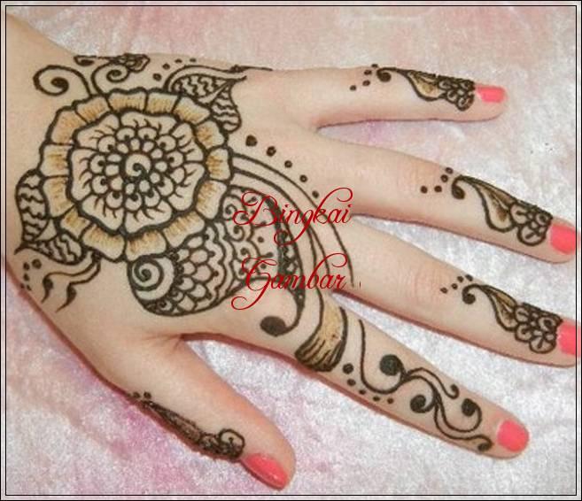gambar henna model bunga