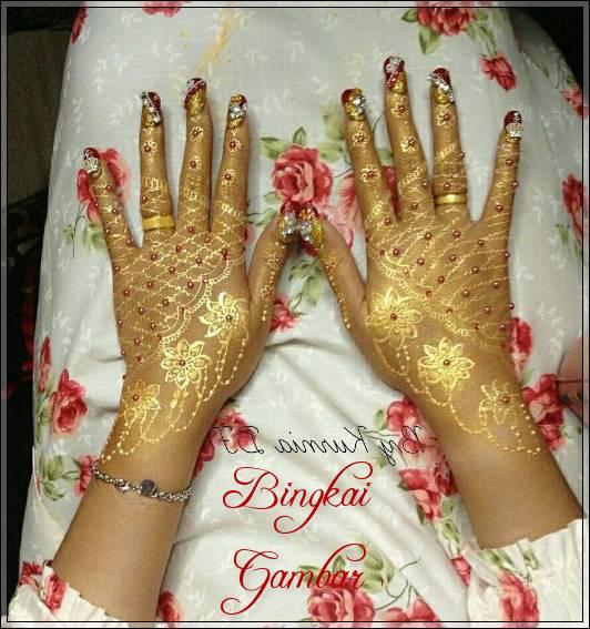 henna pengantin warna gold