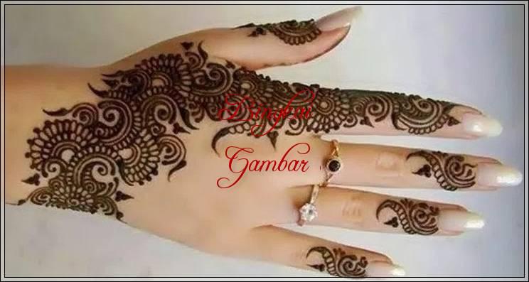motif bunga henna tangan simple