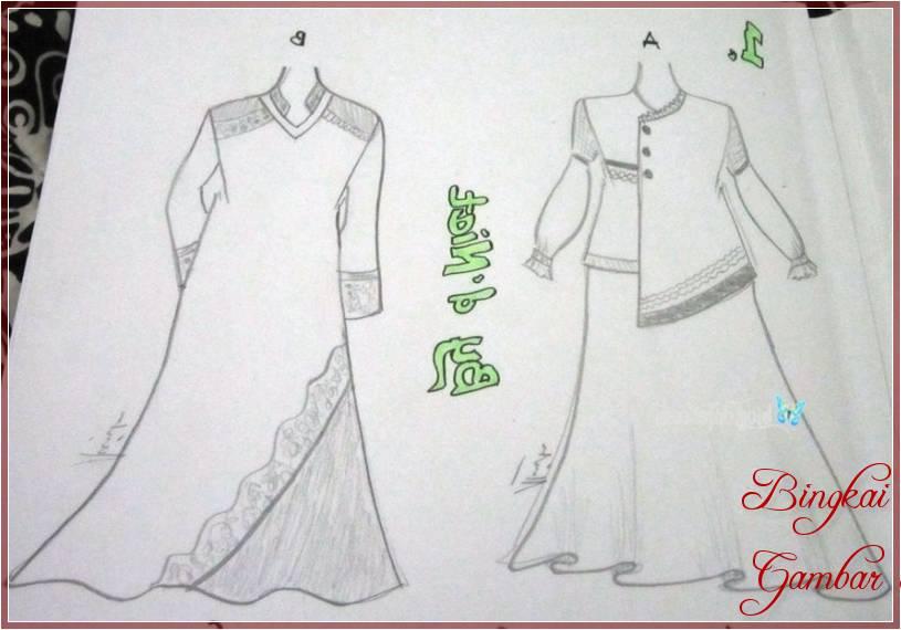 Gambar Sketsa Baju Gamis