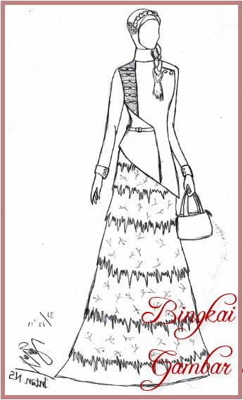 Gambar Sketsa Baju Hijab