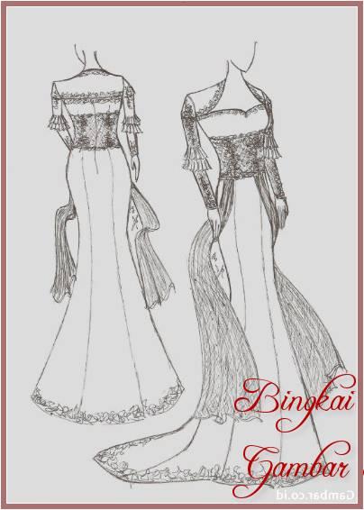 Gambar Sketsa Baju Kebaya