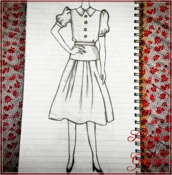Gambar Sketsa Baju Simple