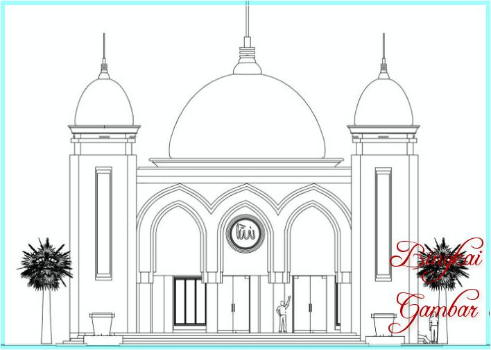 Gambar Sketsa Ilustrasi Masjid