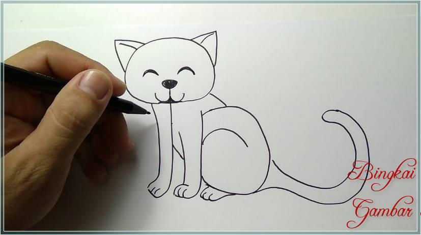 Gambar Sketsa Kucing Mudah