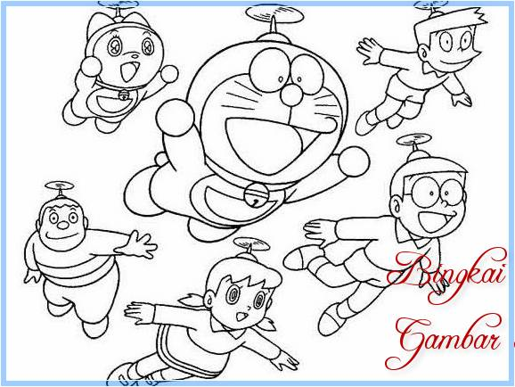 Sketsa Gambar Doraemon Dan Kawan Kawan