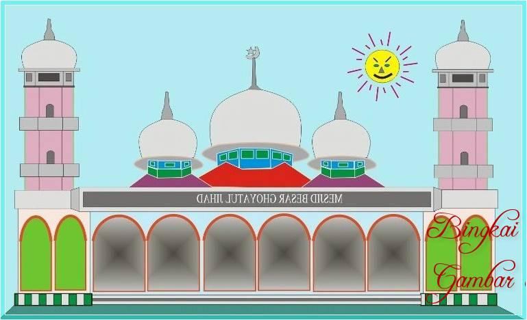 Sketsa Gambar Masjid Berwarna