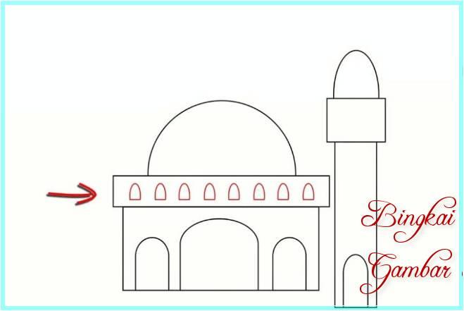 Sketsa Gambar Masjid Paling Mudah