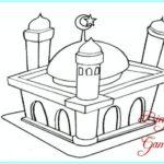 Sketsa Gambar Masjid Untuk Lomba Mewarnai