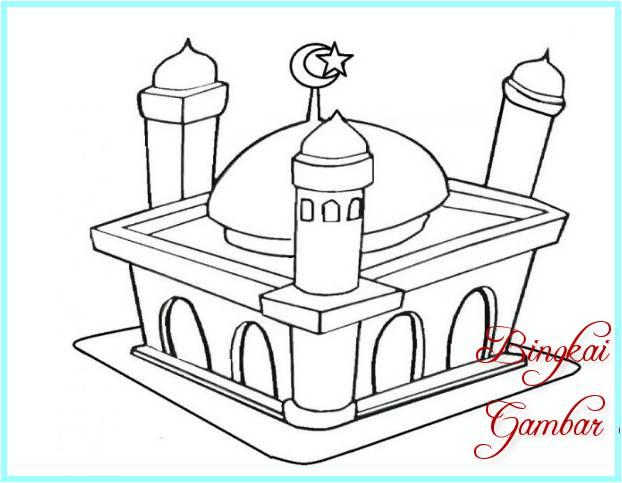 41 Gambar Sketsa Masjid Mewah Sederhana Dan Mewarnai Terbaru