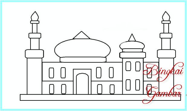 Sketsa Gambar Masjid Yang Mudah