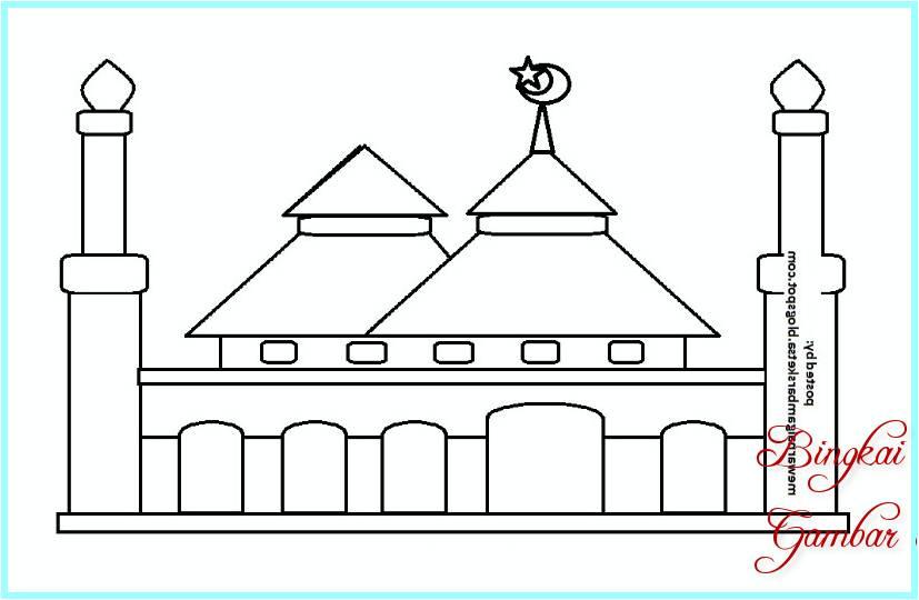 Mewarnai Gambar Contoh Mewarnai Gambar Masjid Slidehdco