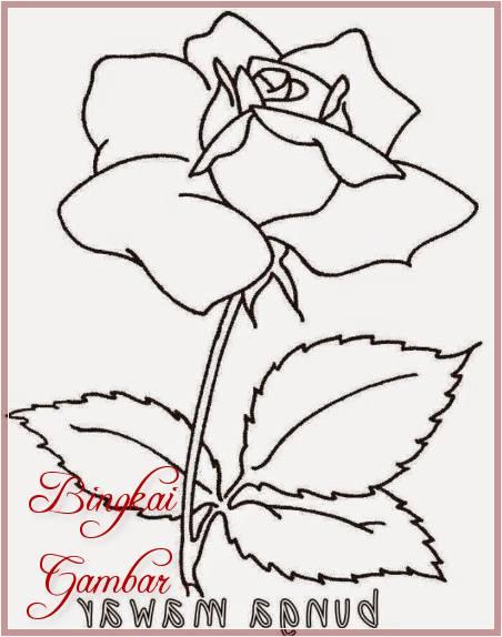 Contoh Gambar Bunga Mawar Simple