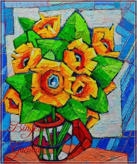 Gambar Kubisme Bunga Simple