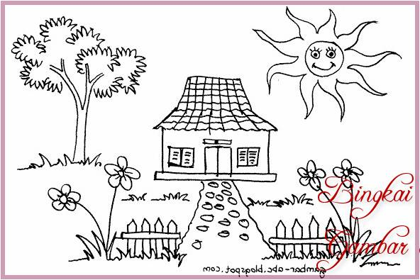 Gambar Sketsa Rumah Dan Pohon
