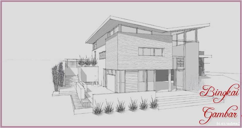 Gambar Sketsa Rumah Dan Taman