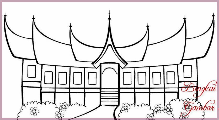 Gambar Sketsa Rumah Gadang