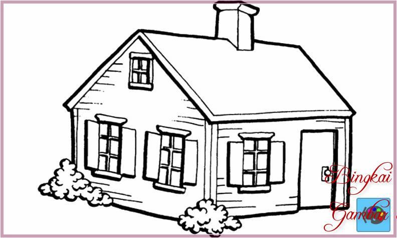 Gambar Sketsa Rumah Hitam Putih